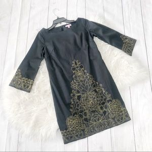Lilly Pulitzer Shauna black gold embroidered dress